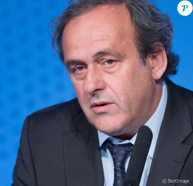 Michel Platini (président de l'UEFA) lors de la conférence de presse pour l'ouverture de la billetterie de l'Euro 2016 à Paris, le 10 juin 2015.