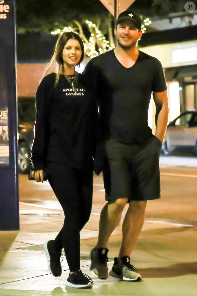 Chris Pratt et sa compagne Katherine Schwarzenegger sont allés dîner au restaurant R+D Kitchen à Santa Monica, le 29 août 2018.