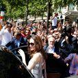 Angelina Jolie à la sortie du magasin Guerlain sur l'avenue des Champs-Élysées à Paris, en France, le 9 juillet 2019