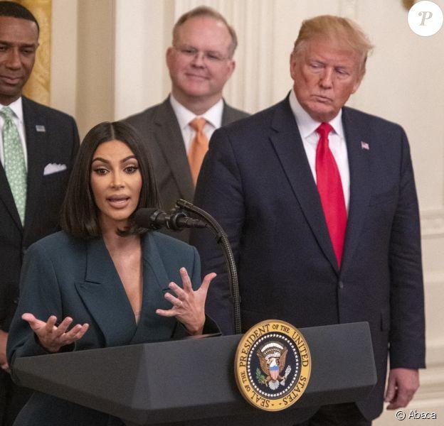"""Kim Kardashian défend le projet """"Second Chance Hiring"""" à la Maison Blanche, en présence du président Donald Trump. Washington, DC, le 13 juin 2019."""