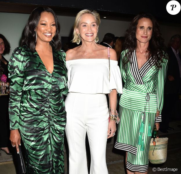 "Garcelle Beauvais, Sharon Stone, Andie MacDowell à la soirée ""Brain Health Initiative 100th Anniversary of Women's Suffrage Gala"" à Los Angeles, le 17 juillet 2019. © CPA/Bestimage"