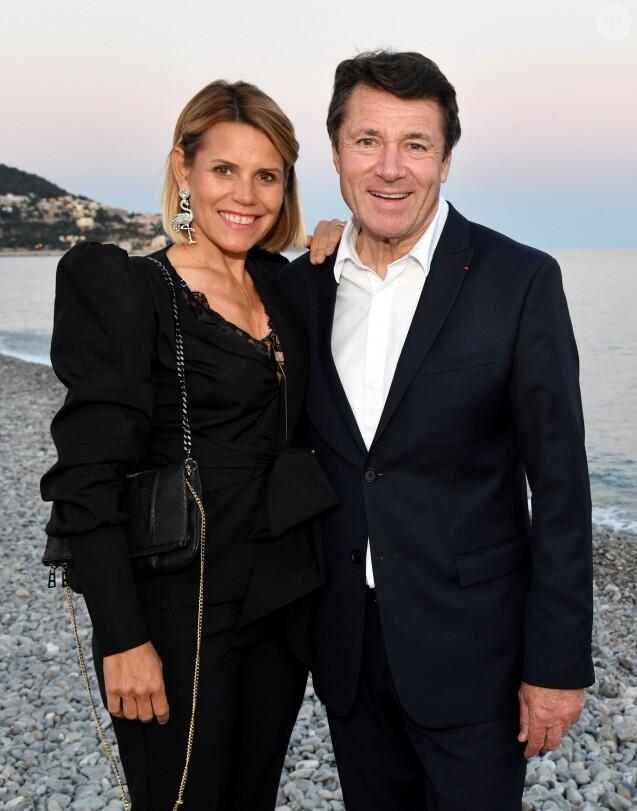 Exclusif - Laura Tenoudji Estrosi et son mari Christian Estrosi, le maire de Nice durant le dîner d'ouverture du 24ème Festival du Livre de Nice à la plage le Galet, le 31 mai 2019. © Bruno Bebert/Bestimage