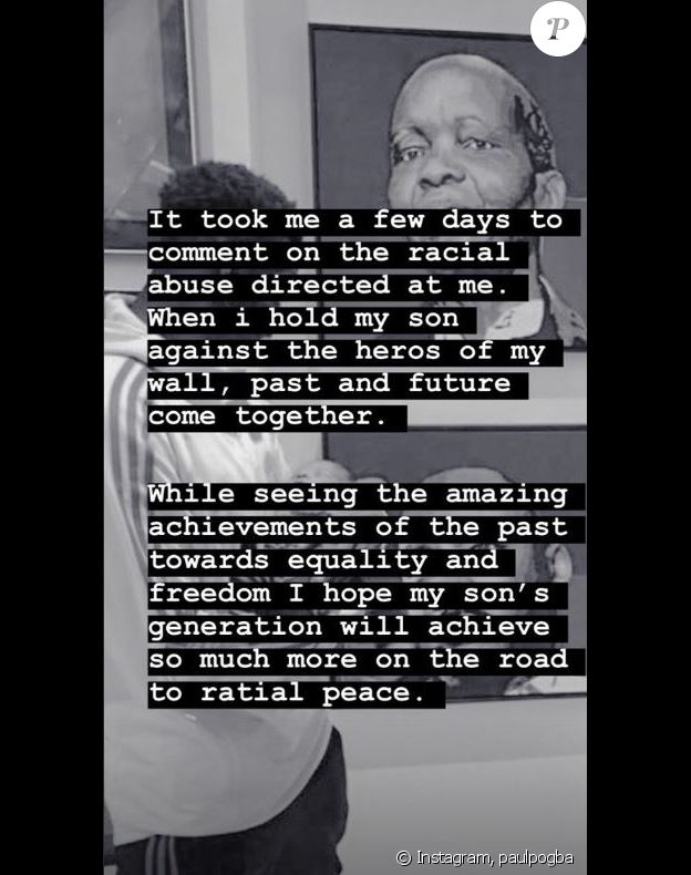 Paul Pogba réagit aux insultes racistes sur Instagram le 25 août 2019.