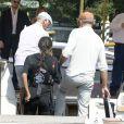 Vincent Cassel, Tina Kunakey et leur fille Amazonie arrivent à l'hotel Excelsior, en marge du 76e Festival international du film de Venise 2019, le 30 août 2019. @ Anna Maria Tinghino/Splash News/ABACAPRESS.COM