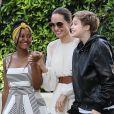 Exclusif - Angelina Jolie arrive à une fête d'anniversaire privée avec ses enfants Shiloh, Zahara et Pax Jolie-Pitt dans le quarrier de Brentwood à Los Angeles, le 2 septembre 2019