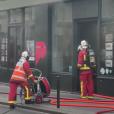 Photo de l'incendie qui a ravagé son agence immobilière située dans le XIe arrondissement de Paris. L'incendie a eu lieu le 16 septembre 2019.