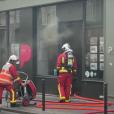 Photo de l'incendie qui a ravagé l'agence immobilière de Stéphane Plaza, située dans le XIe arrondissement de Paris. L'incendie a eu lieu le 16 septembre 2019.