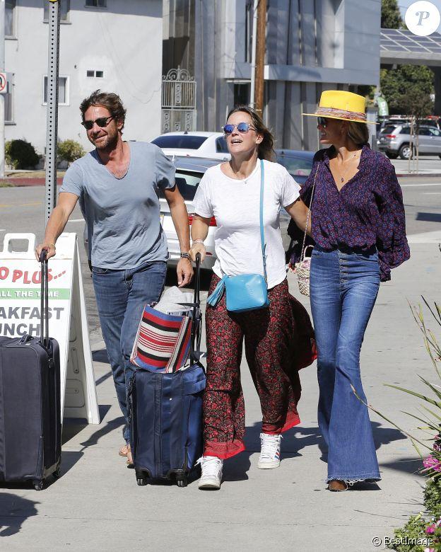 Laeticia Hallyday, son compagnon Pascal Balland et son ex-femme Marine à Los Angeles, avant d'aller chercher leurs filles à l'école. Le 13 septembre 2019