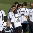 Premier entraînement pour Karim Benzema, Cristiano Ronaldo et leurs copains, le 10 juillet 2009 à Madrid.
