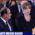 Carla Bruni et François Hollande échangent une messe basse- capture BFMTV- Obsèques de Jacques Chirac à Paris le 30 sept 2019.