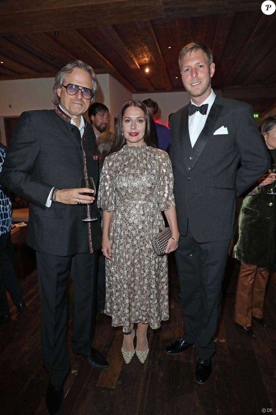 David Brolliet, la princess Elia et le prince Leka II lors du week-end organisé par Less Saves The Planet le 7 septembre 2019 à l'Alpina Gstaad