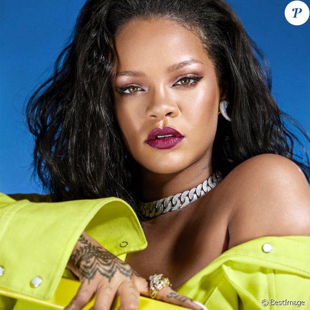 """Rihanna pose pour la campagne de pub de sa marque de cosmétiques """"Fenty Beauty"""". New York. Le 4 septembre 2019."""