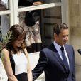 Nicolas Sarkozy et Carla Bruni, à L'Elysée après avoir assisté au défilé du 14 juillet. 14/07/07