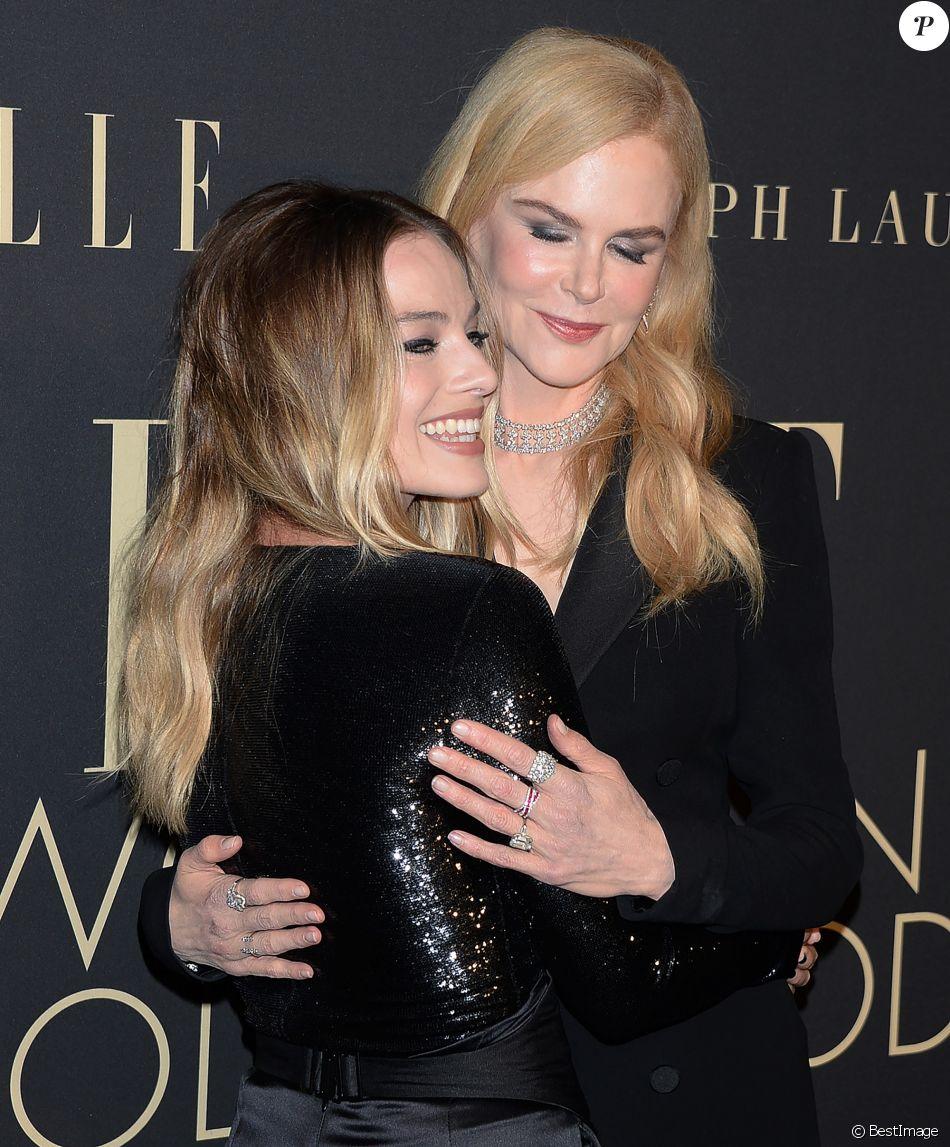 Margot Robbie et Nicole Kidman lors de la soirée ELLE Women In Hollywood à l'hôtel Four Seasons à Beverly Hills, le 14 octobre 2019.