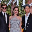"""Sam Riley, Angelina Jolie et le chanteur Miyavi  - Avant-première du film """"Maléfique : Le Pouvoir du mal"""" à Tokyo, au Japon. Le 3 octobre 2019. @Keizo Mori/UPI/ABACAPRES.COM"""
