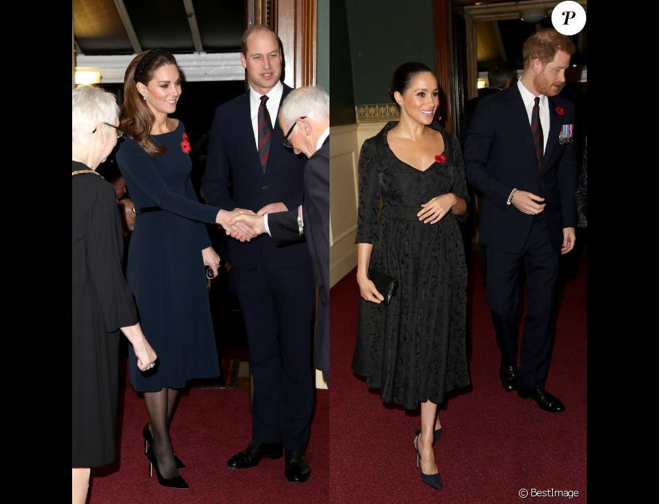 Kate Middleton, le prince William, Meghan Markle et le prince Harry réunis à Londres, le 9 novembre 2019 au Royal British Legion Festival of Remembrance au Royal Albert Hall à Kensington, Londres.
