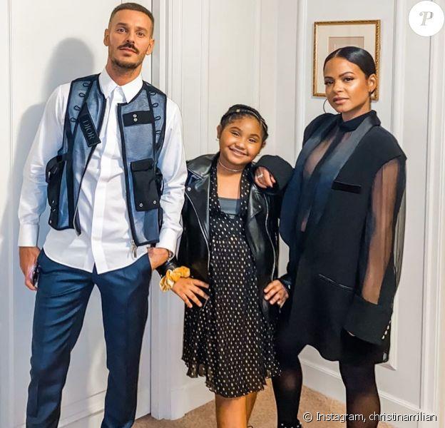 M. Pokora, sa belle-fille Violet et sa compagne Christina Milian avant de se rendre à la 21e cérémonie des NRJ Music Awards le 9 novembre 2019 à Cannes.