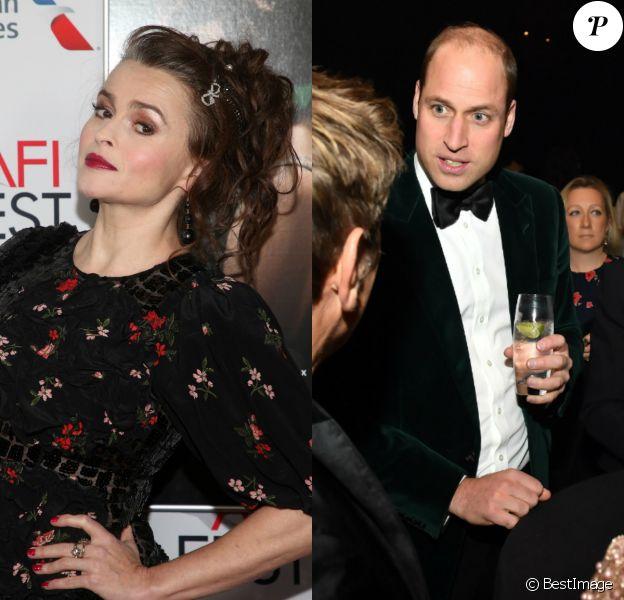 Helena Bonham Carter à Los Angeles le 16 novembre 2019. Le prince William lors d'un gala à Londres, le 13 novembre 2019.