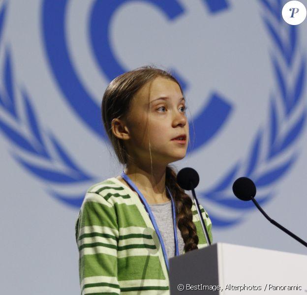 Greta Thunberg prononce un discours lors de la COP 25 à Madrid le 11 décembre 2019. © Alterphotos / Panoramic / Bestimage
