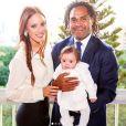 Christian Karembeu et son épouse Jackie Chamoun lors du baptême de leur fille Gaïa. Instagram, le 7 janvier 2018.