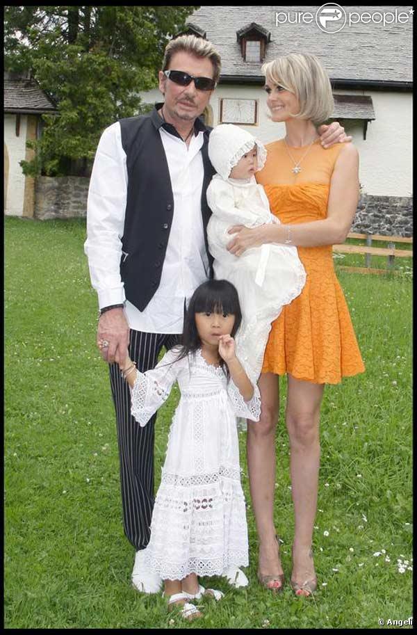 Johnny Hallyday en famille, avec sa femme Laeticia et leurs filles Jade et Joy