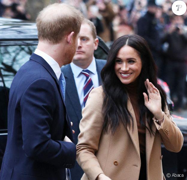 Meghan Markle et le prince Harry à la Maison du Canada, à Londres, le 7 janvier 2020.