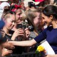 Meghan Markle, duchesse de Sussex (en Givenchy), lors d'un bain de foule à Rotorua, Nouvelle Zélande le 31 octobre 2018.