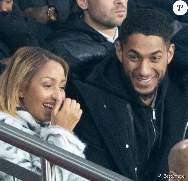 Après avoir été séparés quelque temps, Tony Yoka et sa femme Estelle Mossely (enceinte de son deuxième enfant) sont de nouveau ensemble. Ils ont été vus dans les tribunes lors du match de Ligue 1 opposant le Paris Saint-Germain à l'AS Monaco au Parc des Princes à Paris, France, le 12 janvier 2020. Le PSG fait match nul face à l'AS Monaco (3-3).
