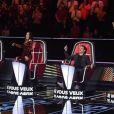 Image TF1 des enregistrement de la prochaine saison de The Voice avec quatre nouveaux coachs : Lara Fabian, Amel Bent, Marc Lavoine et Pascal Obispo