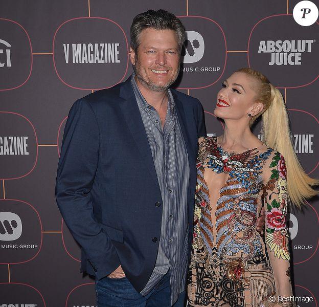 """Gwen Stefani et son compagnon Blake Shelton au photocall de la soirée des """"Pre-Grammy Awards 2020"""" à Los Angeles, le 23 janvier 2020."""