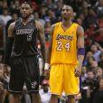 LeBron James et Kobe Bryant lors d'un match à l'AmericanAirlines Arena de Miami le 19 janvier 2012.