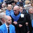 Le compagnon du défunt Erwan Toularastel - Arrivées aux obsèques de Michou en l'église Saint-Jean de Montmartre à Paris. Le 31 janvier 2020
