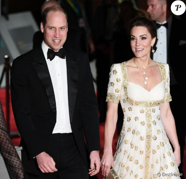 Le prince William, duc de Cambridge et Catherine Kate Middleton, la duchesse de Cambridge - 73e cérémonie des British Academy Film Awards (BAFTA) au Royal Albert Hall à Londres, le 2 février 2020.