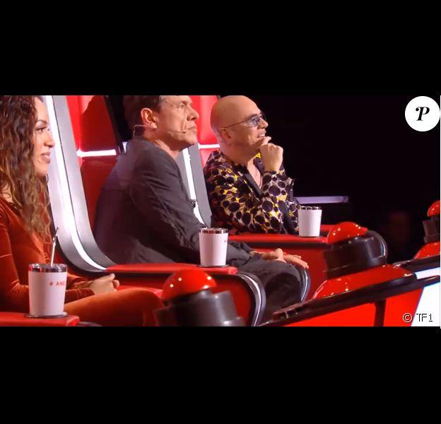 """Pascal Obispo, Marc Lavoine et Amel Bent - Extrait de l'émission de """"The Voice"""" diffusée samedi 15 février 2020, TF1"""