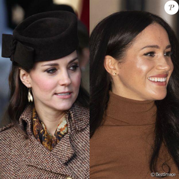 Kate Middleton avec ses boucles d'oreilles Zoraida à Sandringham, en décembre 2014. Meghan Markle avait un modèle de la même marque à Londres, le 7 janvier 2020.