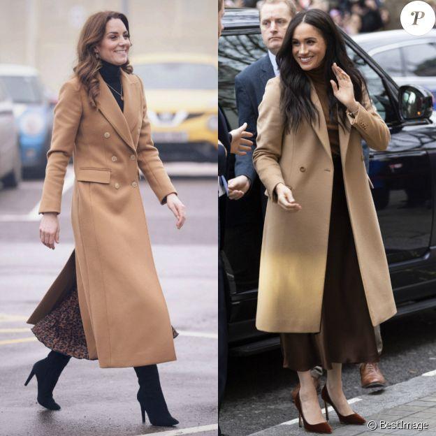 Kate Middleton et Meghan Markle en manteaux camel, col roulé et jupe mi-longue fluide, janvier 2020.