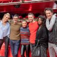 Elodie Gossuin, Albert Spano, Denitsa Ikonomova et Christian Millette, Hapsatou Sy et Vincent Cerruti- Record du monde du plus grand Italian Kiss, le plus grand nombre de couples mangeant le même spaghetti, au restaurant Vapiano de La Défense, à Paris, le 14 février 2020, pour la Saint-Valentin.