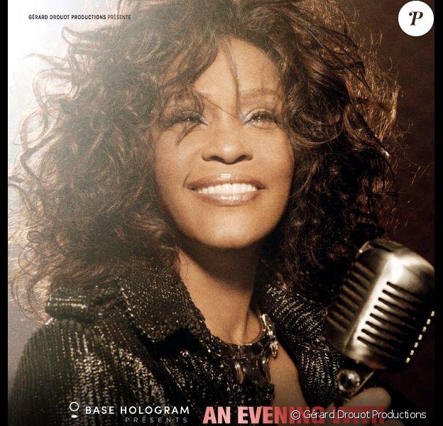 """Affiche du spectacle """"An evening with Whitney Houston"""", le show holographique de la chanteuse. Le 15 mars 2020 à la salle Pleyel."""