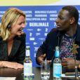"""Virginie Efira, Omar Sy à la conférence de presse du film """"Police Night Shift"""" lors de la 70ème édition du festival international du film de Berlin (La Berlinale 2020), le 28 février 2020."""