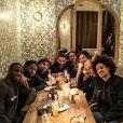 """Omar Sy, Ladj Ly, le photographe JR, Ludivine Sagnier, Mouloud Achour, Madonna et son jeune petit-ami Ahlamalik au restaurant """"Mamie"""" de Jean Imbert. Le 3 mars 2020 sur Instagram."""