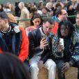 """Luka Sabbat, Fai Khadra, Aron Piper (acteur dans la série """"Elite""""), Salif Gueye et Paul Wesley assistent au défilé Lacoste, collection prêt-à-porter automne-hiver 2020-2021 au Tennis Club de Paris. Paris, le 3 mars 2020. © Veeren Ramsamy-Christophe Clovis /Bestimage"""