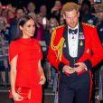Le prince Harry, duc de Sussex, et Meghan Markle, duchesse de Sussex, assistent au festival de musique de Mountbatten au Royal Albert Hall de Londres, Royaume Uni, le 7 mars 2020.