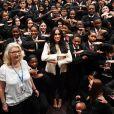 """Meghan Markle, duchesse de Sussex, fait une visite surprise à l'école supérieure Robert Clack de Dagenham pour célébrer la """"Journée internationale de la femme"""". Royaume Uni,. Le 7 mars 2020."""