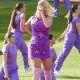 """Katy Perry, enceinte, chante pour la finale de la """"ICC Women T20 Cricket World Cup"""" à Melbourne, en Australie. Le 8 mars 2020. @Media-Mode / SplashNews/ABACAPRESS.COM"""