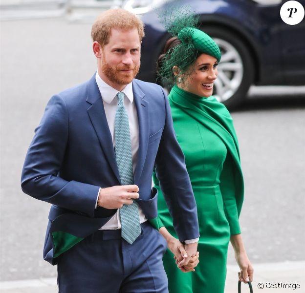 Le prince Harry, duc de Sussex, et Meghan Markle, duchesse de Sussex - La famille royale d'Angleterre lors de la cérémonie du Commonwealth en l'abbaye de Westminster à Londres, le 9 mars 2020.
