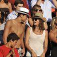 Laure et Florent Manaudou aux Championnats du monde de natation à Rome, le 26 juillet 2009... On es très chapeau dans la famille !