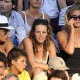 Laure Manaudou, son frère et sa copine supportent Frédérick Bousquet lors des Championnats du monde de natation à Rome, le 26 juillet 2009
