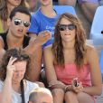 Laure Manaudou supporte son chéri Frédérick Bousquet au côté de son frère Florent aux Championnats du monde de natation à Rome, le 29 juillet 2009