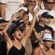 Laure Manaudou supporte son chéri Frédérick Bousquet au côté de son frère Florent aux Championnats du monde de natation à Rome, le 30 juillet 2009
