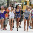"""Capucine (Secret Story 6), Nabilla Benattia, Amélie (Secret Story 4), et Marie (Koh Lanta) - Tournage de la cinquieme saison des """"Anges de la Tele Realite"""" a Miami, le 22 mars 2013."""